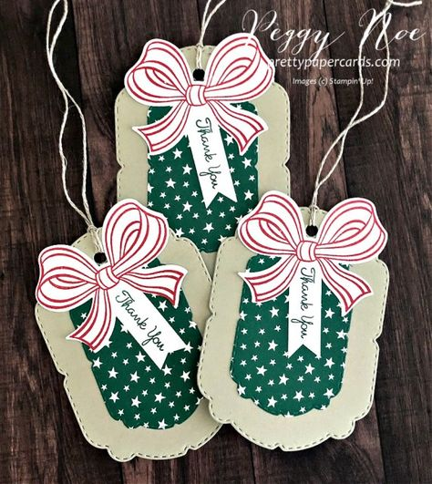 Handmade Thank You Tag Using the Gift Wrapped Bundle from Stampin\' Up! designed by Peggy Noe of prettypapercards.com #giftwrappedbundle #handmadetag #thankyoutag