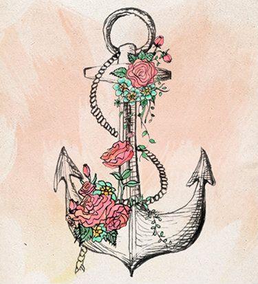 anclas y flores  Dibujos  Pinterest  Anclas Ancla tattoo y