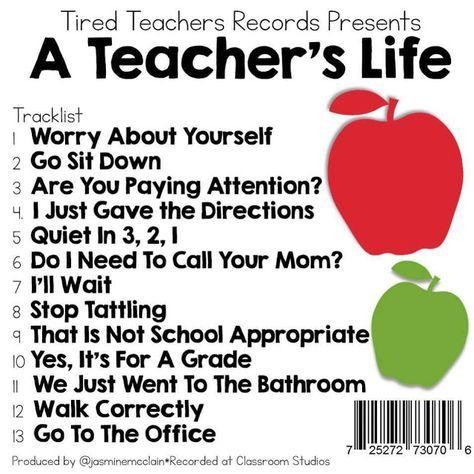 Kindergarten and Mooneyisms: Tired Teachers Records Presents A TEACHER'S LIFE Tracklist