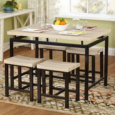 Tms 5 Piece Delano Dining Set Natural Walmart Com Modern Dining Room Set Dining Room Sets Dining Furniture Sets