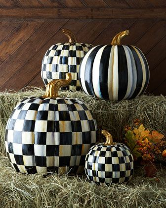 Courtly+Check+&+Courtly+Stripe+Pumpkins+by+MacKenzie-Childs+at+Horchow.  Love these but, even on sale, they are expensive!