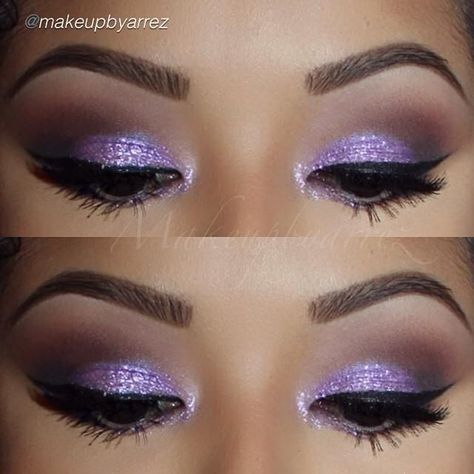 Plum Glam by @makeupbyarrez in Motives Glitter Pots(Plum Fairy) and Black Gel Eyeliner!   #Plum #Glamour #Fairy