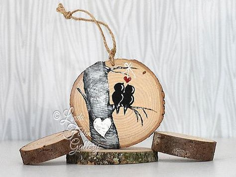 Personalized Valentine Gift for Couple Wood Slice Ornament Bird Ornament Wood Love Bird Art Hand Painted Ornament Tree Slice Art Tree Rustic Ornament Anniversary Gift Love Bird Painting Hand Painted and Ready to Ship! The one on display in the first two pictures is the one you
