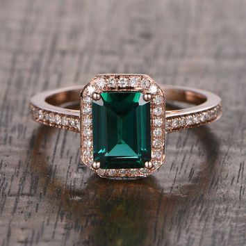 6x8mm Lab Emerald Engagement ring Rose gold Diamond wedding band