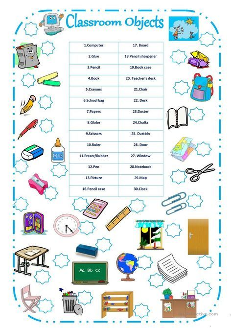 CLASSROOM OBJECTS Worksheet - Free ESL Printable Worksheets Made By  Teachers Classroom, English Classroom, English Worksheets For Kids