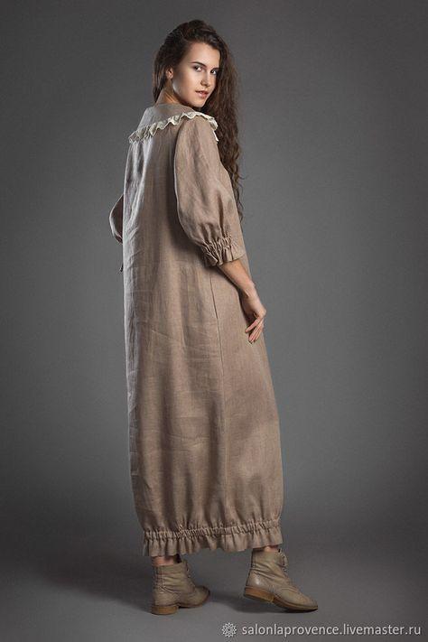 3f293247be4f9 Платья ручной работы. Платье льняное с кружевом на воротнике. La Provence  творческая мастерская. Ярмарка Мастеров. Платье бохо