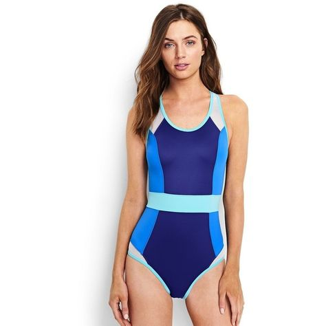 7e5d5359b7 Lands' End Sport Women's Scoopneck One Piece Swimsuit ($119) ❤ liked on  Polyvore featuring swimwear, one-piece swimsuits, blue, blue bathing suit,  blue one ...