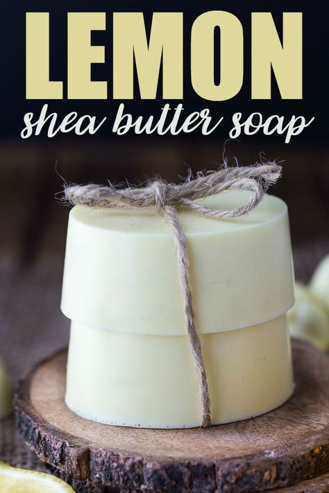 The best DIY projects & DIY ideas and tutorials: sewing, paper craft, DIY. Natural & DIY Skin Care : Lemon Shea Butter Soap - Creamy, smooth and fresh. This beautiful DIY soap leaves skin feeling so soft and makes a lovely homemade gift. Shea Butter Soap, Body Butter, Homemade Soap Recipes, Homemade Gifts, Homemade Paint, Diy Soap Leaves, Diy Para A Casa, Diy Masque, Savon Soap
