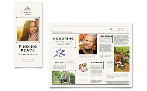 Memorial And Funeral Program Brochure Design Template By