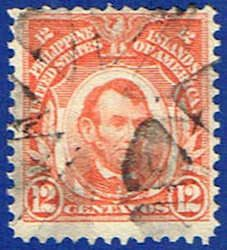266 Lincoln Stamp 12c (1911)-Used Philippines #266 Stamp for