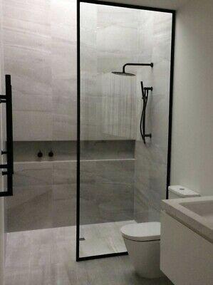 Black Framed Walk In Shower Panel Showerscreen H 2000 X 1200 Diy