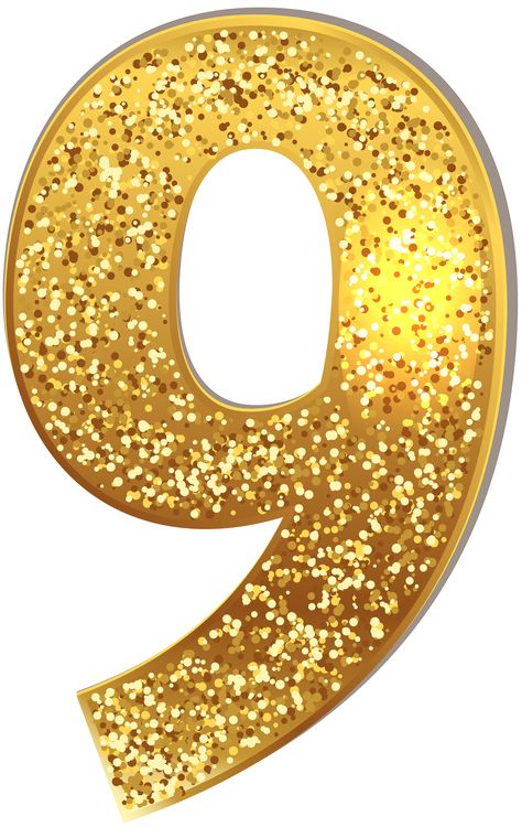 Number Nine Gold Shining PNG Clip Art Image | Gallery Yopriceville - High-Quality Images and Transparent PNG Free Clipart