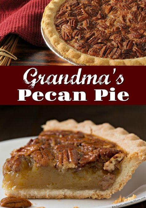 Grandma's Pecan Pie Recipe - Tried and True! This is one of my favorite fall desserts. Perfect pie for Thanksgiving! Grandma's Pecan Pie Recipe - Tried and True! This is one of my favorite fall desserts. Perfect pie for Thanksgiving! Best Pecan Pie Recipe, Homemade Pecan Pie, Southern Pecan Pie Recipe, Apple Pecan Pie, Pecan Pie Crust Recipe Easy, Creamy Pecan Pie Recipe, Peacon Pie Recipe, Pecan Pie Cobbler, Sweets