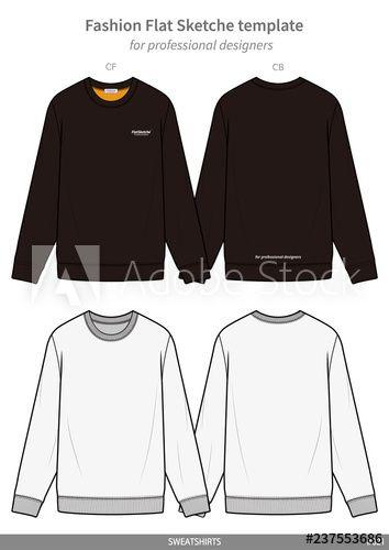 Download Sweatshirts Fashion Flat Technical Drawing Template Fashion Inspiration Design Sweatshirt Fashion Fashion