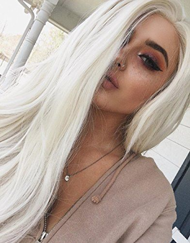 Musegetes Fashion Platinum Blonde Synthetic Lace Front Wi Https