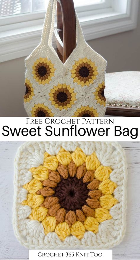 I need this adorable summer bag in my life! Don't you just love the little sunflower squares? Free Crochet Bag, Crochet Gifts, Cute Crochet, Crochet Bra, Crotchet, Crochet Toys, Loom Knitting, Knitting Patterns, Crochet Patterns