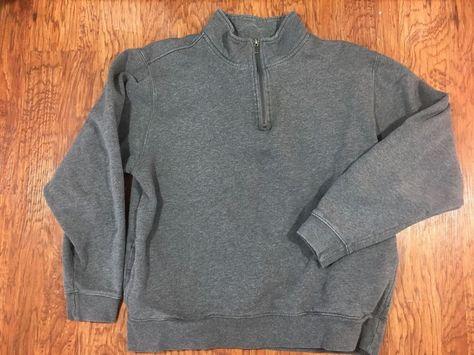 L.L. Bean 14 Zip Gray Mock Neck Heavyweight Sweatshirt