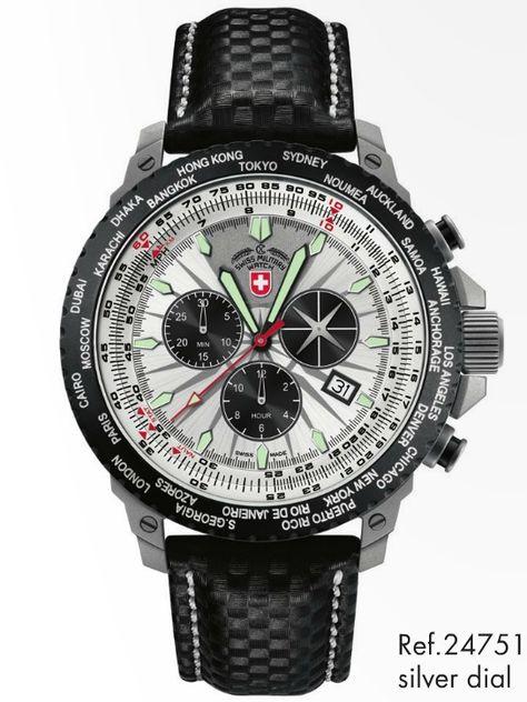 HURRICANE WORLDTIMER 24751, silver dial, rawhide, by CX Swiss Military Watch: https://www.swiss-military.net/airforce