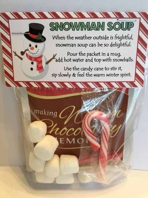 Snowman Soup Favors!  Fill a bag with a hot chocolate packet, a few marshmallows, a candy cane and you have an adorable thoughtful gift!   Pin For Later!  #snowmansoup, #snowmansouptopper, #snowmansoupprintable - Snowman Soup Treat Bag Topper - Printable File - Instant  Download / Snowman Soup Favor / Snowman Soup Tag / Snowman Soup Printable