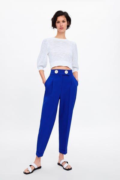 pantalon bleu roi femme zara