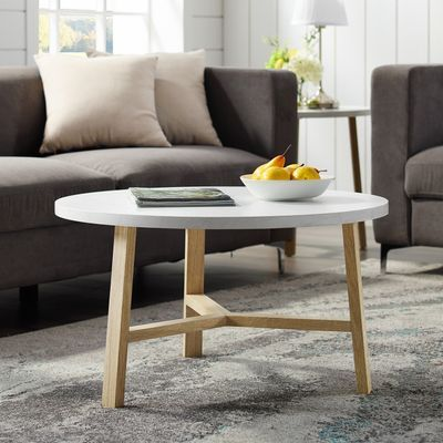 Modern White Faux Marble Light Oak Round Coffee Table Round