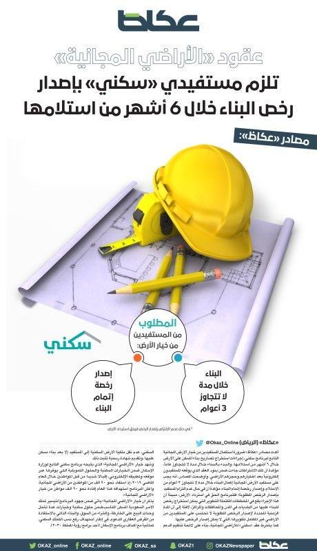 مصادر عكاظ عقود الأراضي المجانية تلزم مستفيدي سكني بإصدار رخص البناء خلال 6 أشهر من استلامها Saudi Arabia News Multimedia Office Supplies