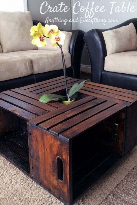I could fill this with BOOKS! DIY Crate Coffee Table by Anything and Everything. If I could find crates here.....