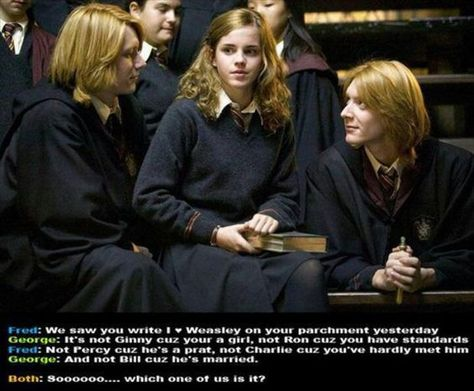 Harry Potter and The Goblet of Fire: Fred Weasley, Hermione Granger, George Weasley. Wrote a heart on your page. not Ron because you have standards. Harry Potter Pictures, Harry Potter Jokes, Harry Potter Fandom, Harry Potter Ron And Hermione, Harry Potter Fun Facts, Harry Potter Imagines, Albus Severus Potter, Harry Potter Ships, Potter Facts