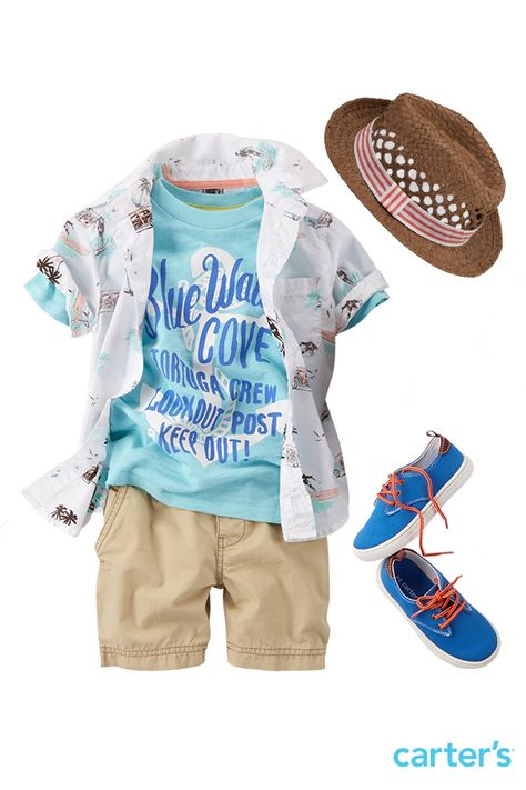 A beachy button-front layered over a cove-bound tee gives this guy a local look. Keep it classic with canvas shorts.