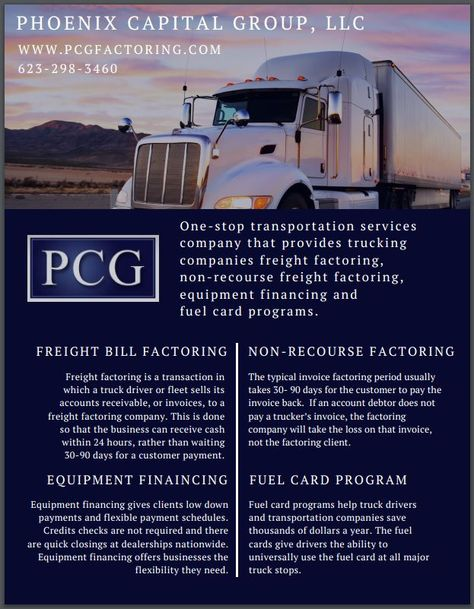 Freight bill factoring for all independent truck drivers! 623-298 - bill receivables