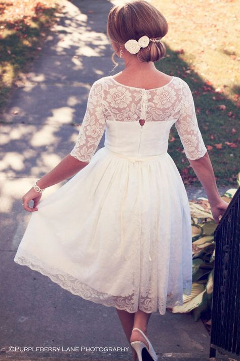 Adele - Tea length, illusion lace wedding gown. $675.00, via Etsy.