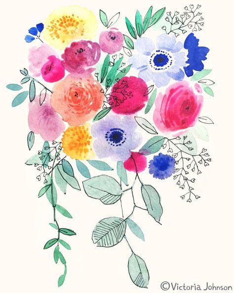 Watercolor Floral By Victoria Johnson Aquarelle Fleurs