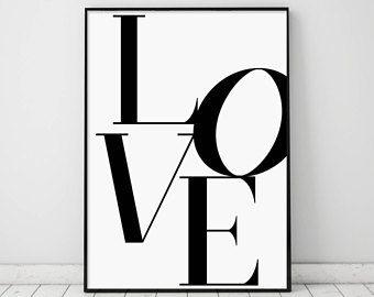Amour Amour Imprimer Affiche De Lamour Noir Et Blanc