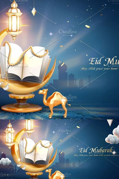3d ramadan night greeting banner