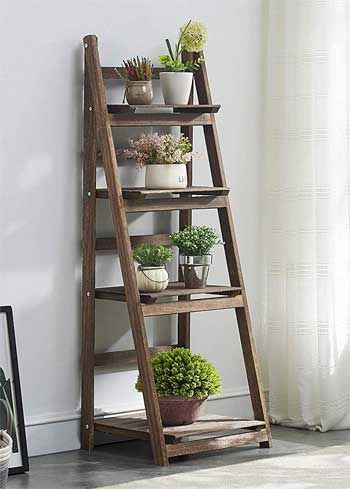 What Makes This Plant Ladder Shelf Better Than Other Houseplant Display Tables How To Set It Up Use It Ou Ladder Shelf Decor Plant Ladder Wooden Ladder Shelf