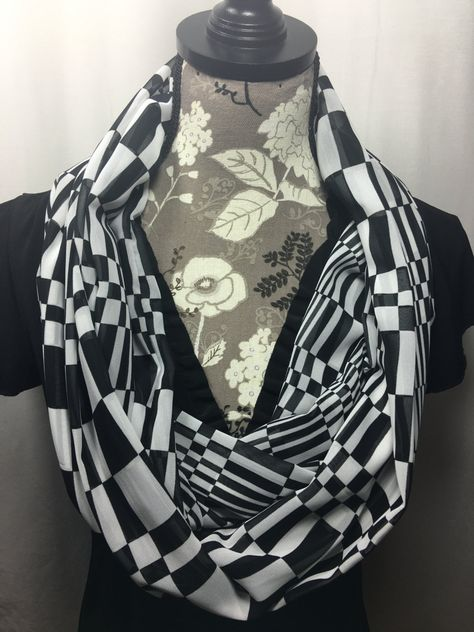 Black And White Infinity Scarf Lightweight Scarf Gift For Her Gift For Wife Scarves For Women Mothers Day Infinity Scarves Black By Inspiredthread