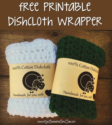 Printable Dishcloth Wrapper - This Southern Girl Can.