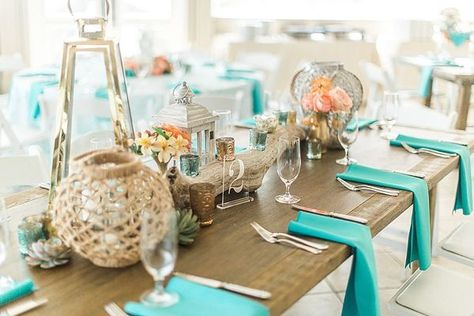 Fun Coral and Turquoise Outer Banks Wedding #turquoisecoralweddings Fun Coral and Turquoise Outer Banks Wedding