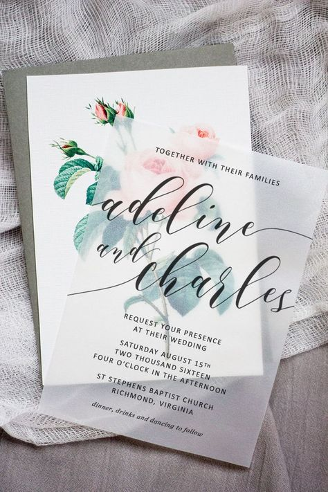 Make these sweet floral wedding invitations using nothing more than a store bought template, vellum and cardstock   Pipkin Paper Company
