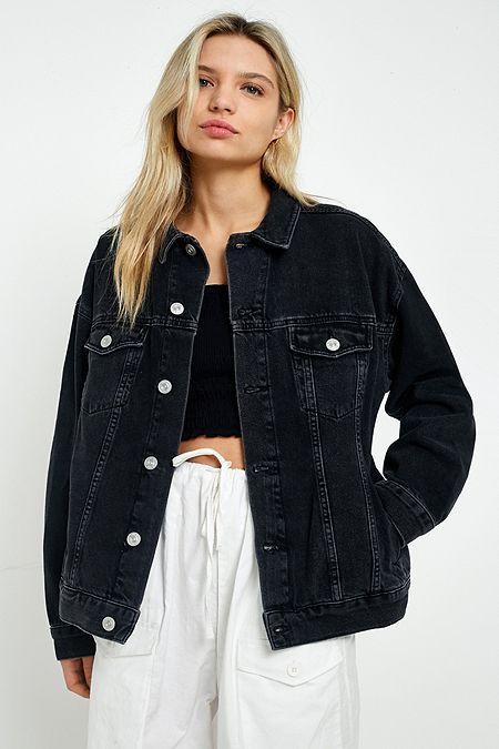 Bdg Boyfriend Black Denim Jacket Oversized Black Denim Jacket Black Denim Jacket Outfit Winter Jacket Outfits
