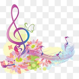 Flowers And Music Symbol Image, Music Clipart, Flowers, Note