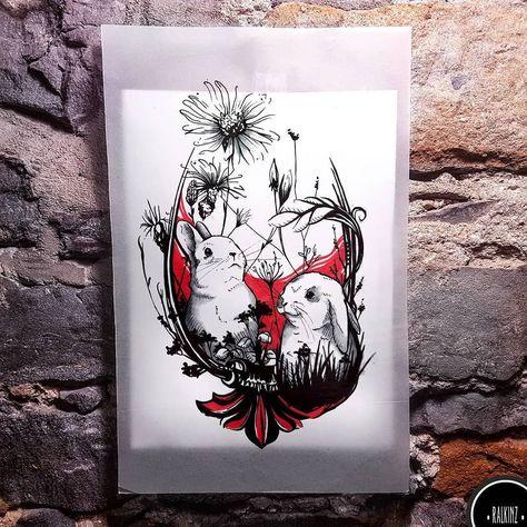 tattoodesign BUNNIES .Custom design . . For...