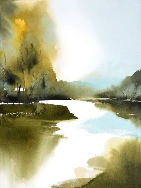 Nancyknightart Et Helle Aquarelllandschaft Drucken Art Fur
