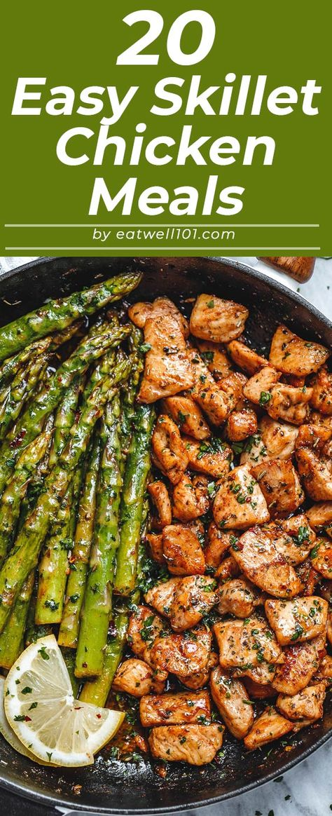 Skillet chicken recipes - - These 20 chicken recipes come together quickly in a single skillet and many of them make complete meals. dinner recipes quick 20 Skillet Chicken Recipes for Busy Weeknight Meals Chicken Strip Recipes, Chicken Skillet Recipes, Healthy Chicken Recipes, Easy Healthy Recipes, Chicken Meals, Pasta Recipes, Easy Skillet Dinner, Dinner Recipes Easy Quick, Easy Weeknight Meals