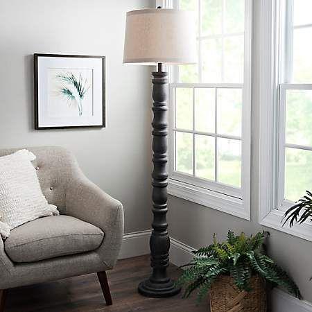 Aged Gray Stevens Floor Lamp Kirklands Floor Lamp Lamp Farmhouse Floor Lamps