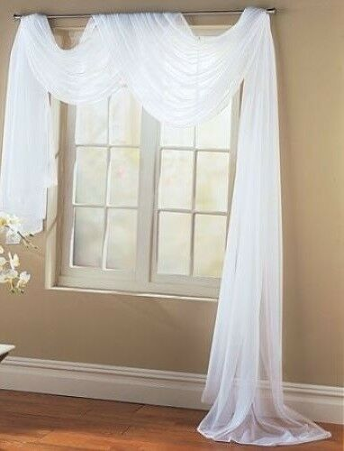 Sheer White Single Polyester Window Topper Scarf Drape Valance 30 X 216 Unbranded Window Toppers Scarf Valance Window Scarf