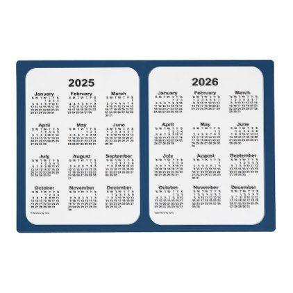2025 2026 Police Box Blue 2 Year Calendar By Janz Placemat Zazzle Com Calendar Calendar Design Custom Calendar