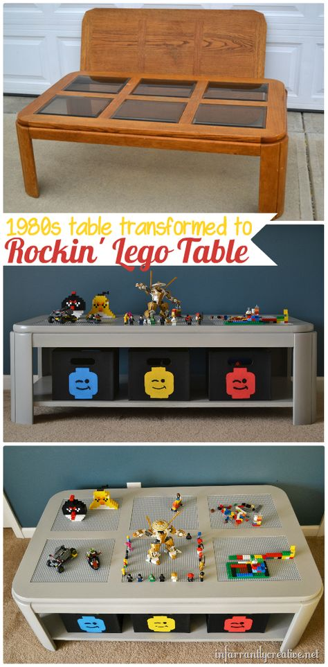 SUCH A GOOD IDEA! (girls can play with Lego's too, right?) DIY Lego table makeover from Infarrantly Creative