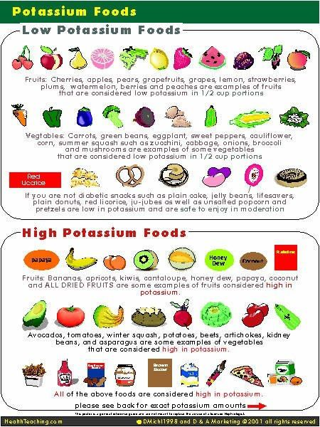 Low high Potassium Foods | can't find source|