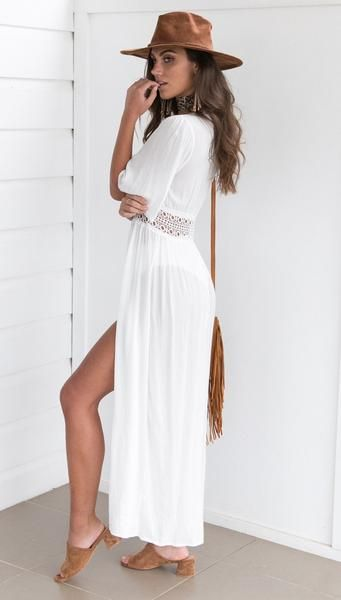 78240d31dd6c2 Sexy lace-up transparent beach White Long Maxi Dress in 2019 ...